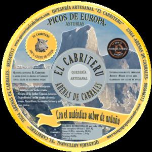 etiqueta amarilla del queso azul de leche de oveja de El Cabriteru