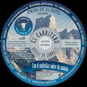 etiqueta azul del queso azul de cabra de El Cabriteru