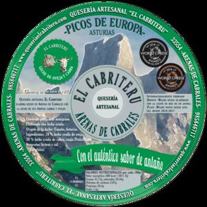 etiqueta verde del queso azul de mezcla de leche de oveja y cabra de El Cabriteru