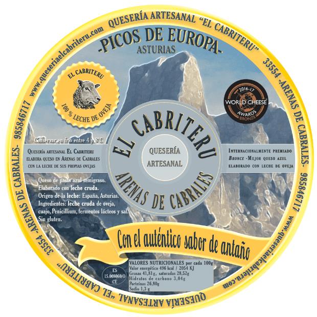 etiqueta amarilla del queso 100 % leche cruda de oveja de El Cabriteru