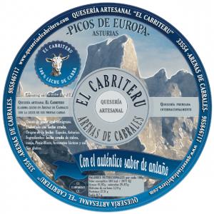 etiqueta azul del queso 100 % leche cruda de cabra de El Cabriteru