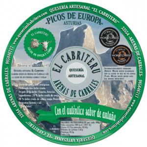 etiqueta verde del queso mezcla leche cruda de oveja y cabra de la Quesería artesanal El Cabriteru