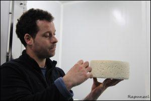 quesero observando queso azul de El Cabriteru